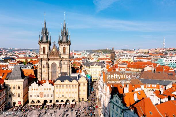 Staromestske Namesti (Old Town Square) and Tyn church in Prague, aerial view