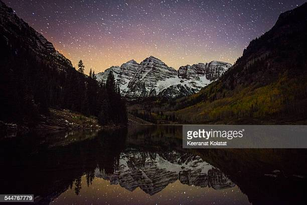 starry bells - maroon bells stock photos and pictures