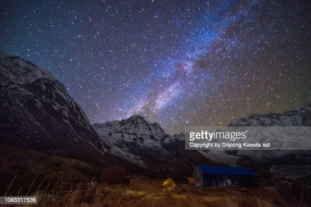 A starry night and the milky way at the Annapurna Base Camp (ABC), Nepal.