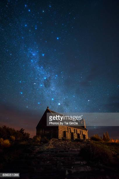 Starry Night at Lake Takepo ,Church of the Good Shepherd, Lake Tekapo, New Zealand