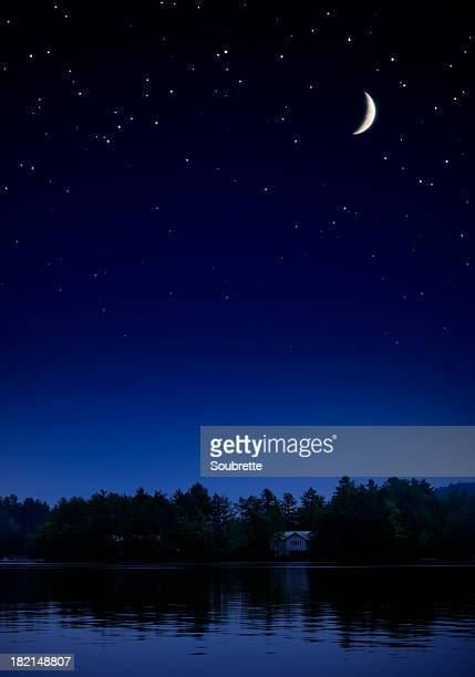 starry night ii - moonlight stock pictures, royalty-free photos & images