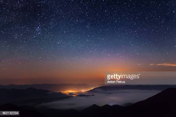 starry night in mountains - ukraine landscape stock pictures, royalty-free photos & images