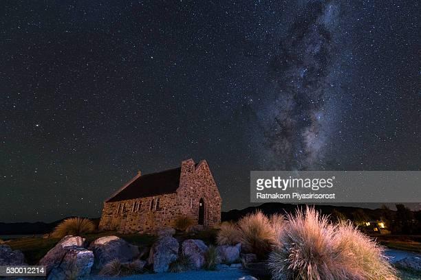 Starry Night of  Church of the Good Shepherd at Lake take