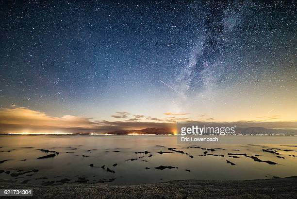 starry night on the salton sea - sonoran desert stock pictures, royalty-free photos & images