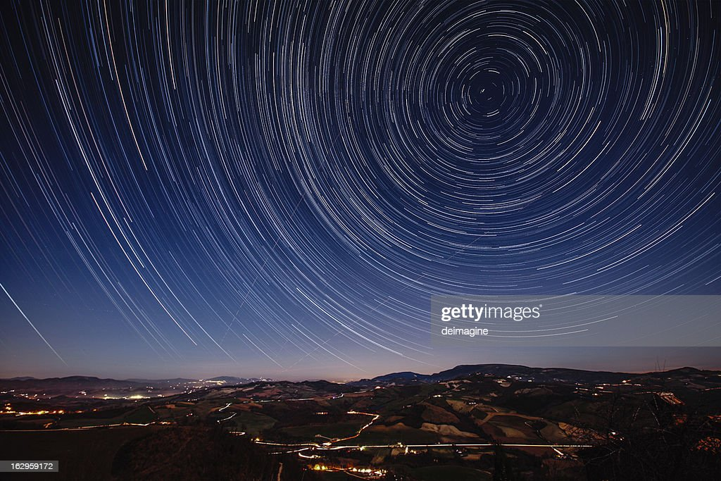 Starry Night on the Tuscan hills : Stock Photo