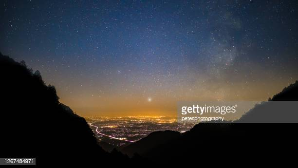 starry night over a city from the mountains - mie prefecture stock pictures, royalty-free photos & images