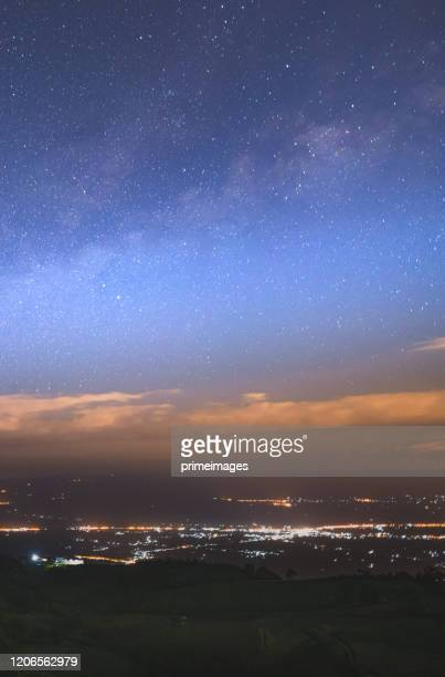 starry night over the mountain with milky way sky at phu thap boek, phetchaboon thai thailand - boek stock pictures, royalty-free photos & images