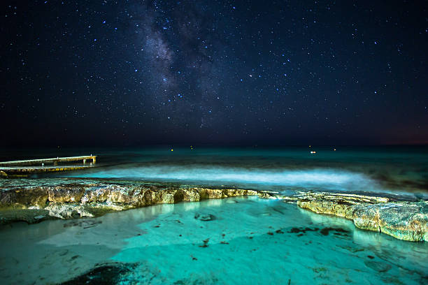Starry night over the small naturell pool