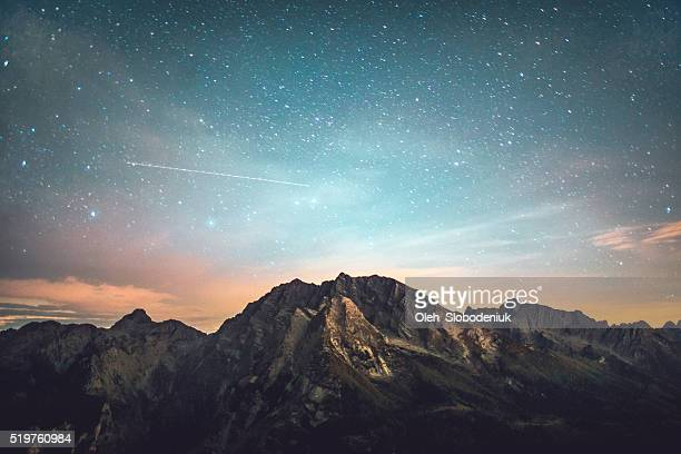 starry night - landscape scenery stock photos and pictures