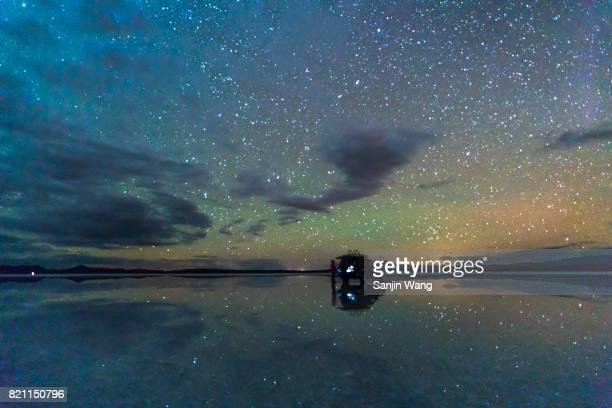 starry night reflection at salar de Uyuni