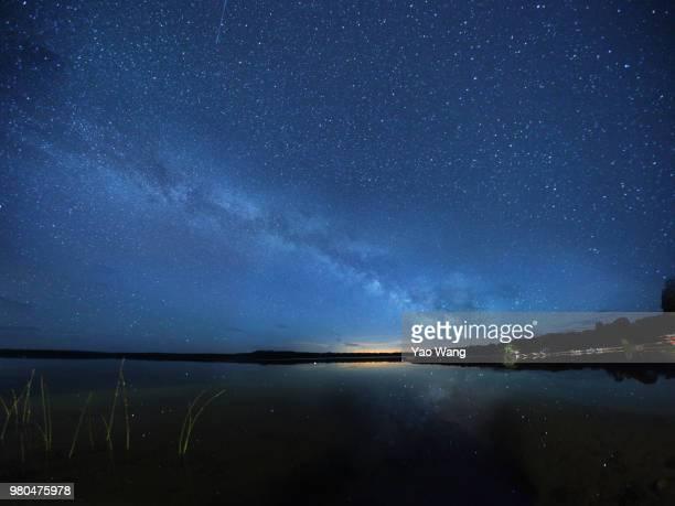 Starry night sky with Milky Way over seashore, Tobermory, Ontario, Canada