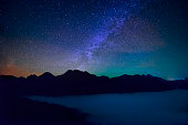 Starry night with mountain