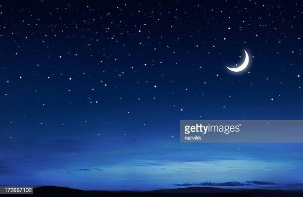 starry peaceful night - moon stock pictures, royalty-free photos & images