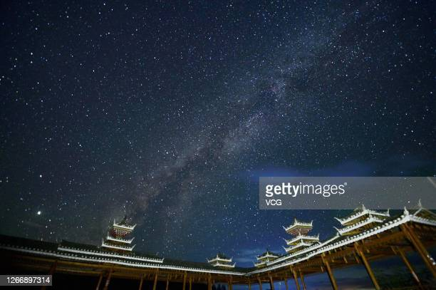 Starry sky is pictured at Datang Miao Village on August 17, 2020 in Qiandongnan Miao and Dong Autonomous Prefecture, Guizhou Province of China.