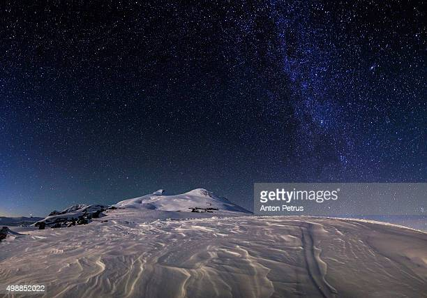 starry sky mount elbrus - snow moon stock pictures, royalty-free photos & images