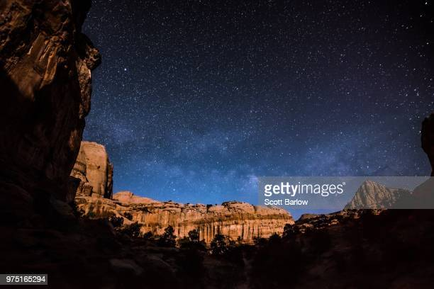 starry sky over butte in capitol reef national park, torrey, utah, usa - capitol reef national park stock pictures, royalty-free photos & images