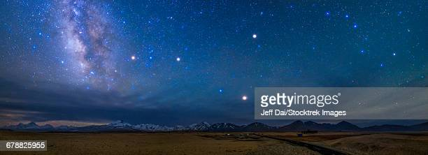 A starry sky over the Himalayas in Tibet, China.