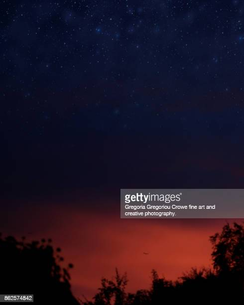 starry sky sunrise - gregoria gregoriou crowe fine art and creative photography. stock-fotos und bilder