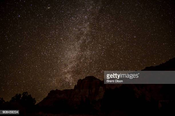 stars above the cliffs in capitol reef national park - capitol reef national park stock pictures, royalty-free photos & images