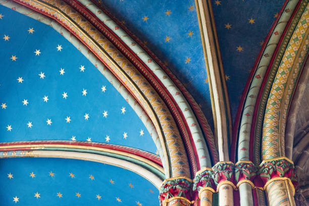 Stars and Colors on the ceiling of a Chapel of Limoges Cathedral, France