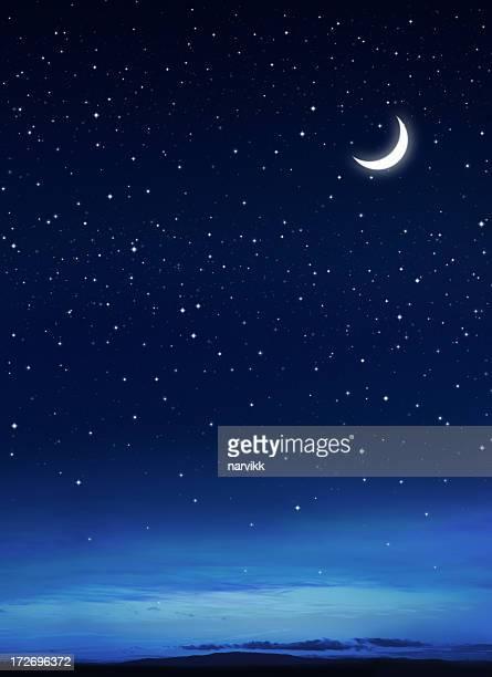 Stars and Moon on the Dark Blue Sky