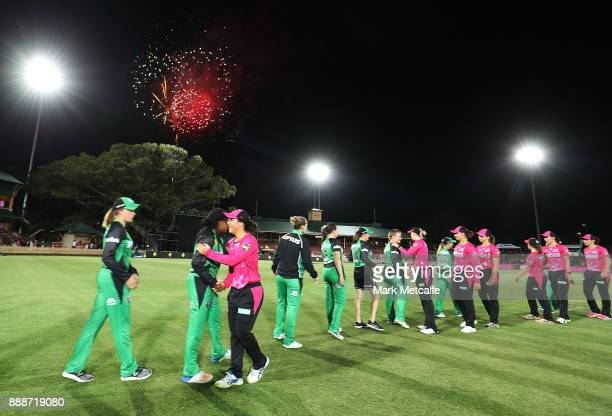 Stars and Sixers players shake hands after the Women's Big Bash League WBBL match between the Sydney Sixers and the Melbourne Stars at North Sydney...
