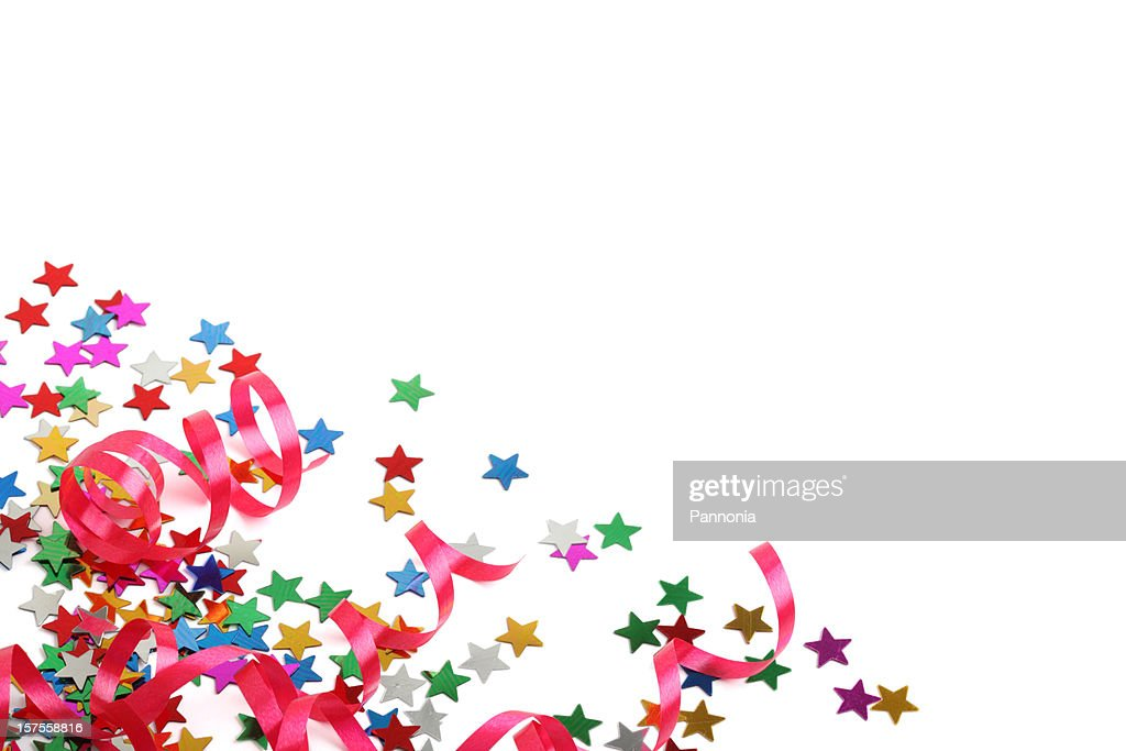 Stars and streamers party decoration XXXL on white  : Stock Photo