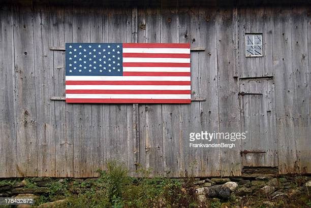 Stars and Stripes on an Old Barn