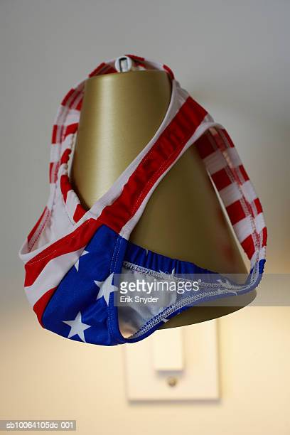 stars and stripes underpants on lamp - jock strap stock photos and pictures