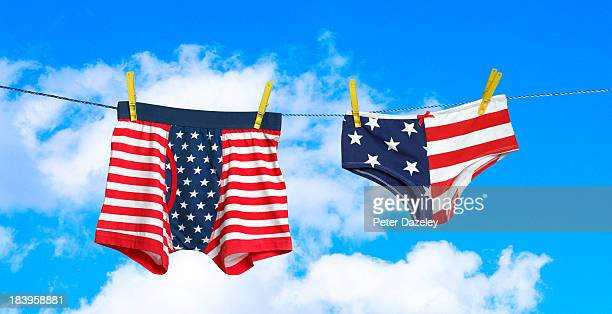 stars and stripes underwear on washing line - boxershort stock pictures, royalty-free photos & images