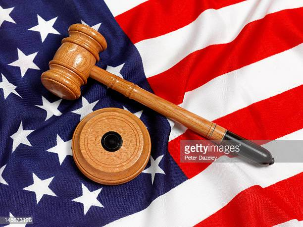 Stars and stripes US flag and gavel