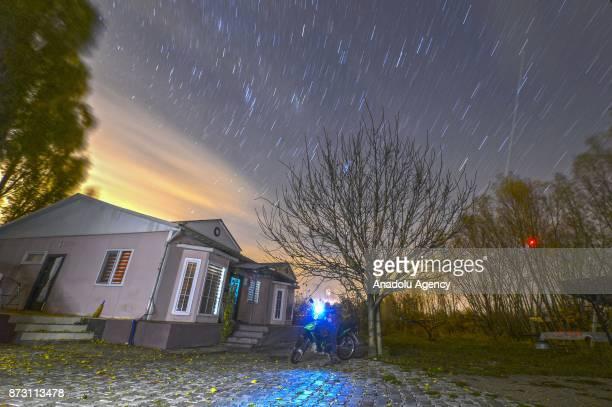 Stars and the sun illuminate the sky after rainfall in Van Turkey on November 12 2017