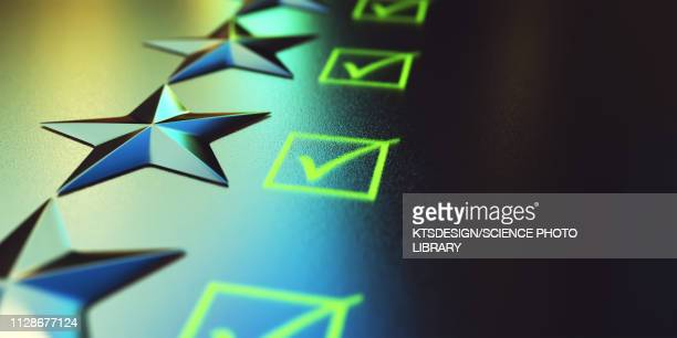stars and tick boxes, illustration - customer engagement stock pictures, royalty-free photos & images