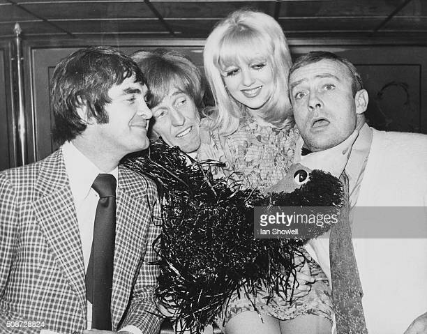 Stars appearing in the pantomime 'Babes in the Wood' Derek Nimmo Rod Hull and his puppet Emu Adrienne Posta and Edward Woodward at the London...