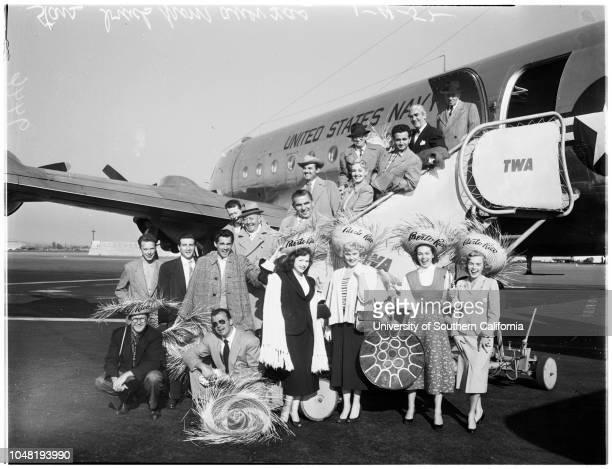 Stars arrive at Burbank Airport 05 January 1952 Bob HawkHarry BrownHarry TylerJoyce McKenzieHelen StanleyZachary ScottPat MoranJoy WindsorEdgar...