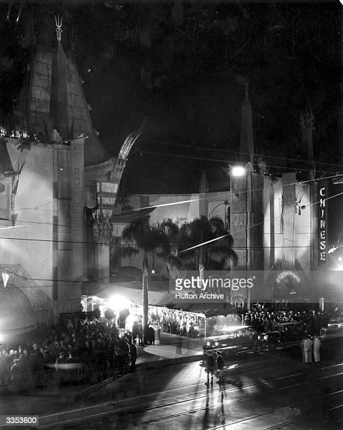 Stars arrive at the famous Chinese Theatre in Los Angeles for the film premiere of Lionel Barrymore's 'The Rogue Song'