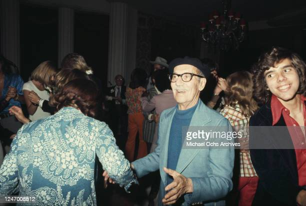 Stars at a press junket for English singer Gary Glitter at the Beverly Hills Hotel in Los Angeles, 25th April 1974. Pictured are comedian Groucho...