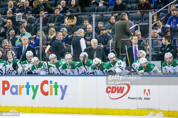 Stars bench and coaching staff during the Dallas Stars and New York Rangers NHL game on December 11 at Madison Square Garden in New York NY
