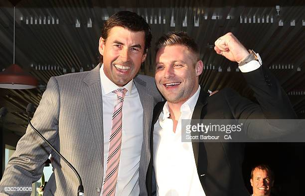 Stars coach Stephen Fleming and Luke Wright sing during the Melbourne Stars BBL Season Launch at The Emerson on December 20 2016 in Melbourne...