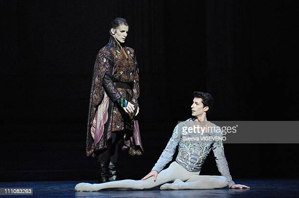 Stars dancers Agnes Letestu Jose Martinez and Karl Paquette perform during the representation of Swan Lake at Opera Bastille in Paris France on...