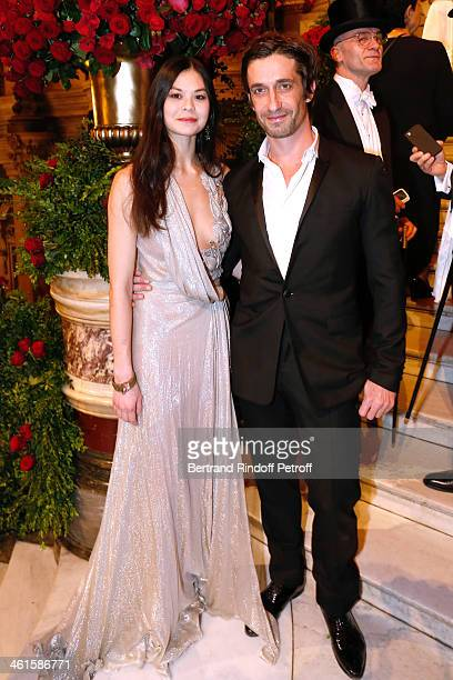 Stars Dancers Alice Renavand and Benjamin Pech attend Arop Charity Gala with 'Ballet du Theatre Bolchoi' held at Opera Garnier on January 9 2014 in...