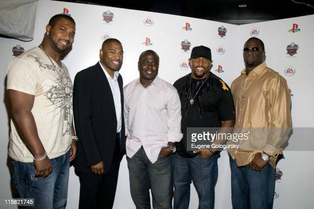 NFL Stars Daunte Culpepper Shawn Alexander Marshall Faulk Ray Lewis and Vince Young attend the Madden NFL 09 20th anniversary premiere at Touch on...