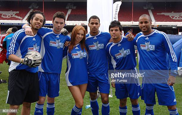TV stars Dave Berry Anthony Hutton and Ricky Whittle taking part in the FHM O2 Cup Final at Highbury one of the last games to take part at Arsenal's...