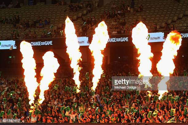 Stars fans celebrate a six behind fireworks during the Big Bash League match between the Melbourne Stars and the Adelaide Strikers at Melbourne...
