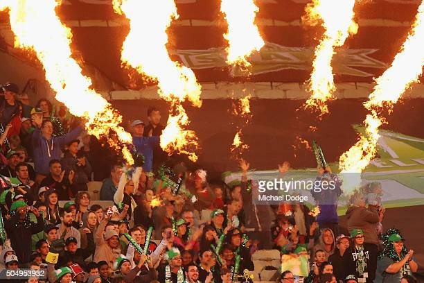 Stars fans celebrate a wicket during the Big Bash League match between the Melbourne Stars and the Brisbane Heat at Melbourne Cricket Ground on...