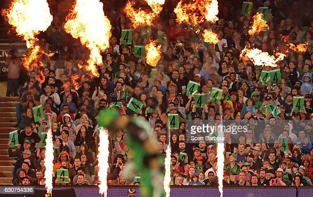 Stars fans in the crowd celebrate as a boundary is hit by the Stars during the Big Bash League match between the Melbourne Stars and Melbourne...