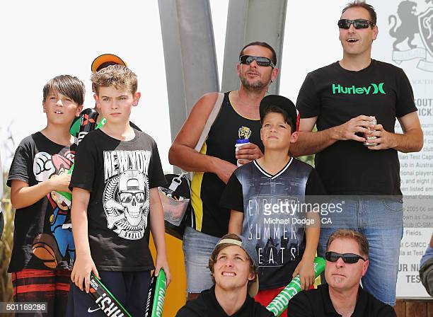 Stars fans react after a boundary gets hit against the Premier All Stars at Casey Fields during Melbourne Stars Family Day on December 13 2015 in...