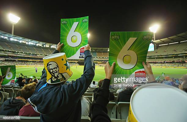 Stars fans wearing KFC buckets on their head show their support during the Big Bash League Semi Final match between the Melbourne Stars and the...