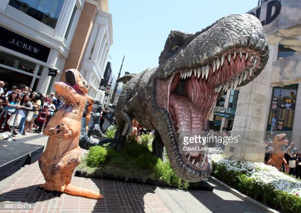 Stars from Jurassic World Fallen Kingdom attend the largest delivery In Amazon's history at The Grove on June 2 2018 in Los Angeles California