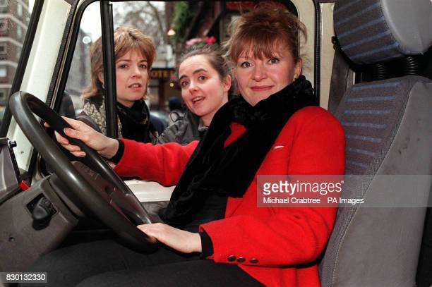 Stars from the Television Drama 'Casualty' Julia Watson Lisa Coleman and Cathy Shipton in London to send the first ten of thirty ambulances on the...